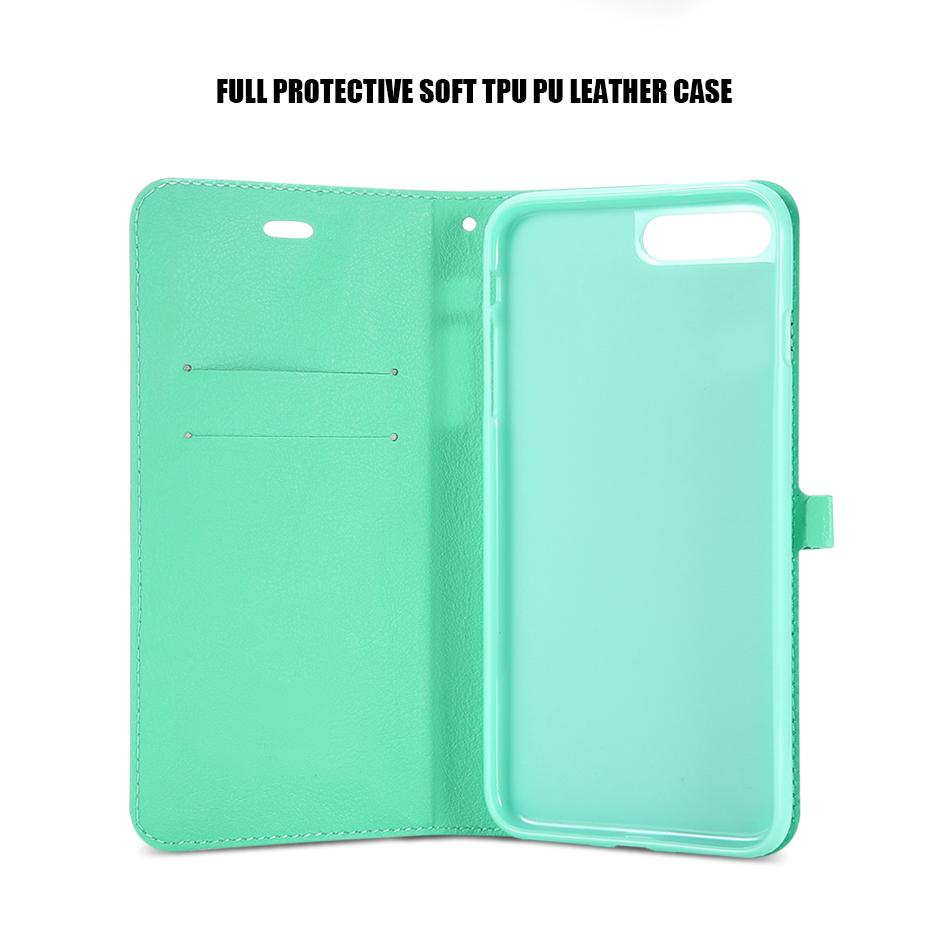 Kisscase candy kolor skóry case dla iphone 7 7 plus odwróć karty portfel slot case pokrywa dla iphone 6 6s plus 5S 5c 4S z logo 8