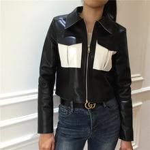 2019 Autumn Zipper fashion new PU jacket women coat Slim short military uniform tunic outwear female metal single