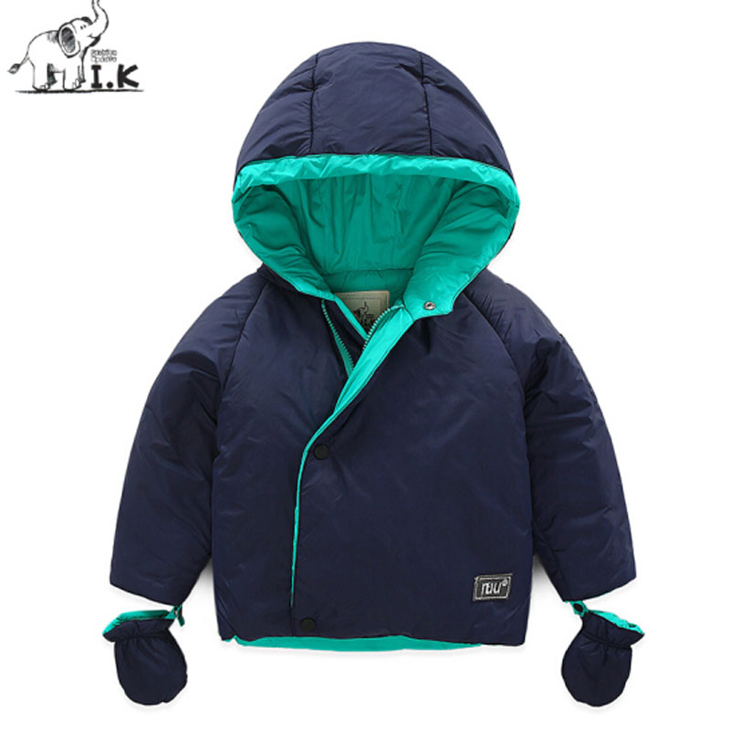 I.K Baby Boys Girls Cute Jackets Down For Winter <font><b>Warm</b></font> Thick 2017 Fashion Children Outwearcoats With <font><b>Gloves</b></font> Hoodies Parkas DP3011