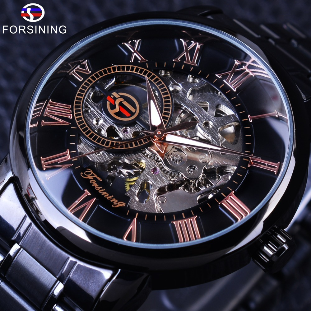 Forsining Classic Retro Roman Number Black Steel Transparent Movement Case Mens Mechanical Watch Top Brand Luxury Skeleton Watch