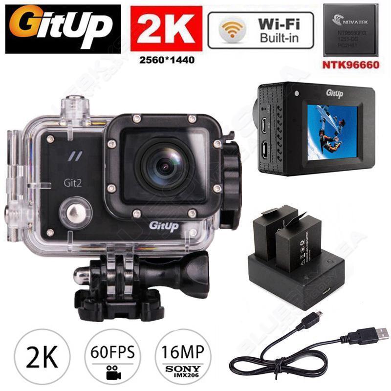 Gitup Git2 Pro Sans Fil WiFi 2 k 1080 p Camera Action Sport Helemet Caméra DV + Double Batterie Chargeur + 1 pcs Batterie Supplémentaire