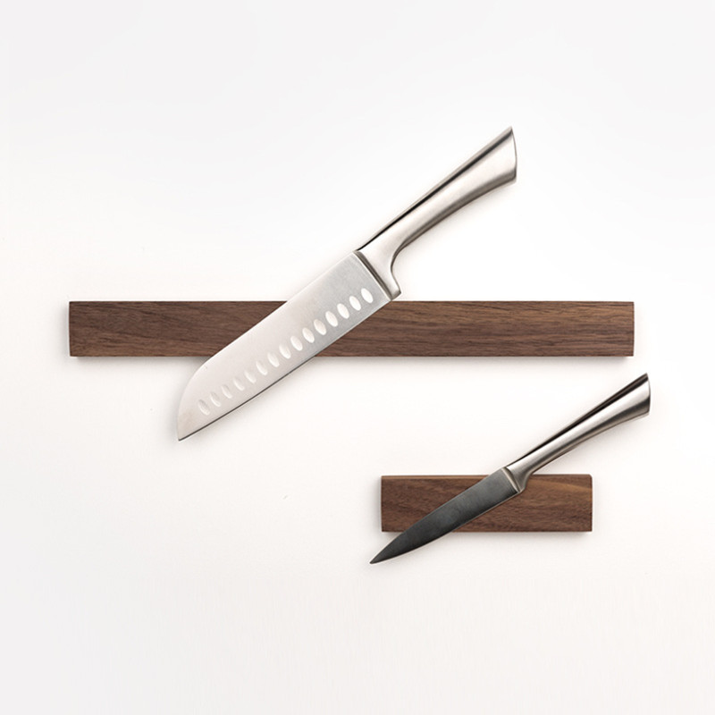 Powerful 6 Inch Magnetic Knife Strip, Solid Wall Mount Wooden Knife Magnet Wulnut & Beech Magnetic Knife Holder Tool Holder