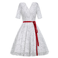 Women White Lace Dress Expansion A Line Elegant Vintage Dress Lady Floral Wedding V Neck Red