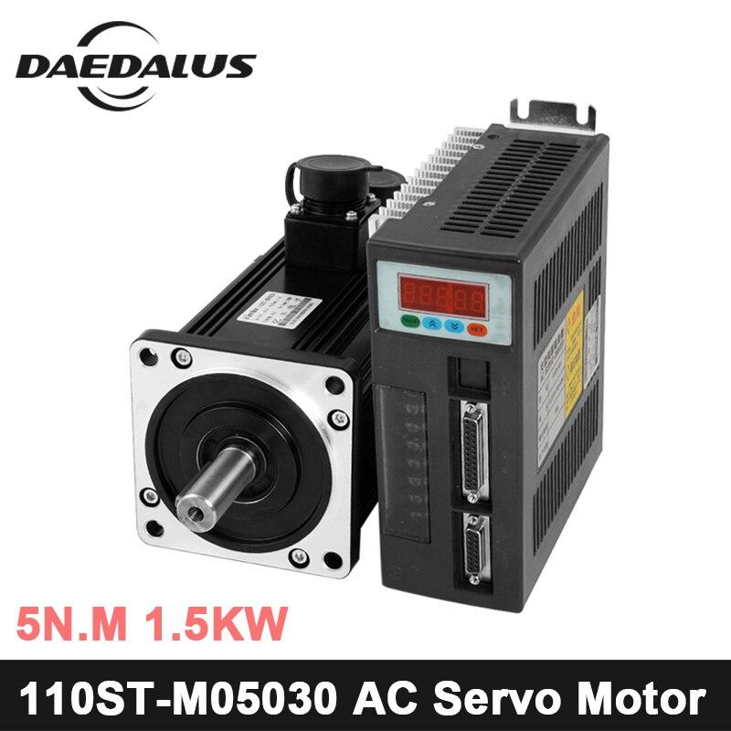 1.5KW 110ST M05030 220 В серводвигатель переменного тока 1500 Вт 3000 об./мин. 5N. м. Однофазный переменного тока постоянный магнит соответствие драйвера