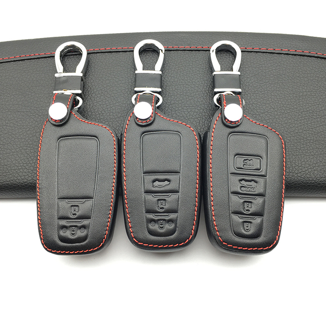 2018 Exquisite 100% Leather Skin Car Key Case FOB Cover For Toyota Camry 2018 2017 Aygo RAV4 Corolla 2018 CHR / C-HR Prius Prado