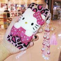 For Samsung Note 9 3D Crystal KT cat Cabochon DIY Bling Bling phone Case For Samsung Galaxy S9 S8 plus note8 Luxury Cover