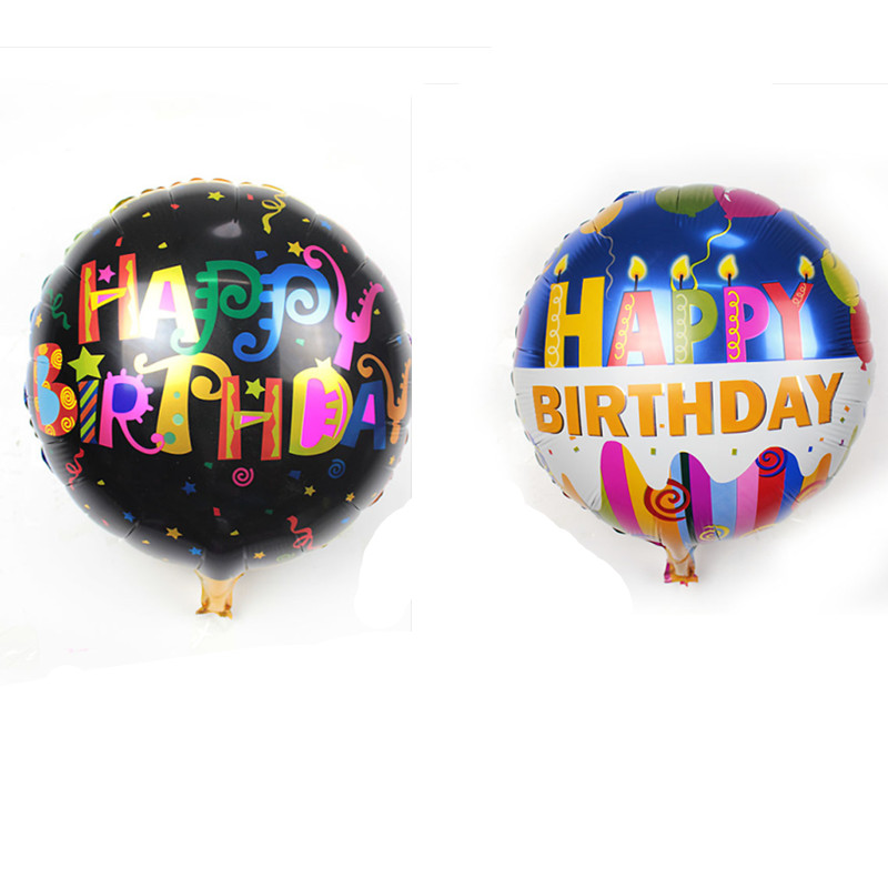 XXPWJ 5pcs/lots18 inch round aluminum balloons Happy Birthday balloons decorated