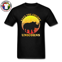 Rhino Save The Chubby Unicorns Classic Vintage Tshirt Mens Sunset Hawaii Popular T Shirt Cotton Crew Neck Street Tees Man
