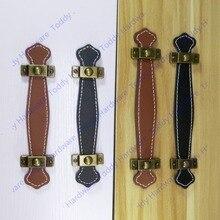 128 мм коричневый/черная кожаная мебель ручка/современный стиль кожаная ручка/тяги двери/ручка