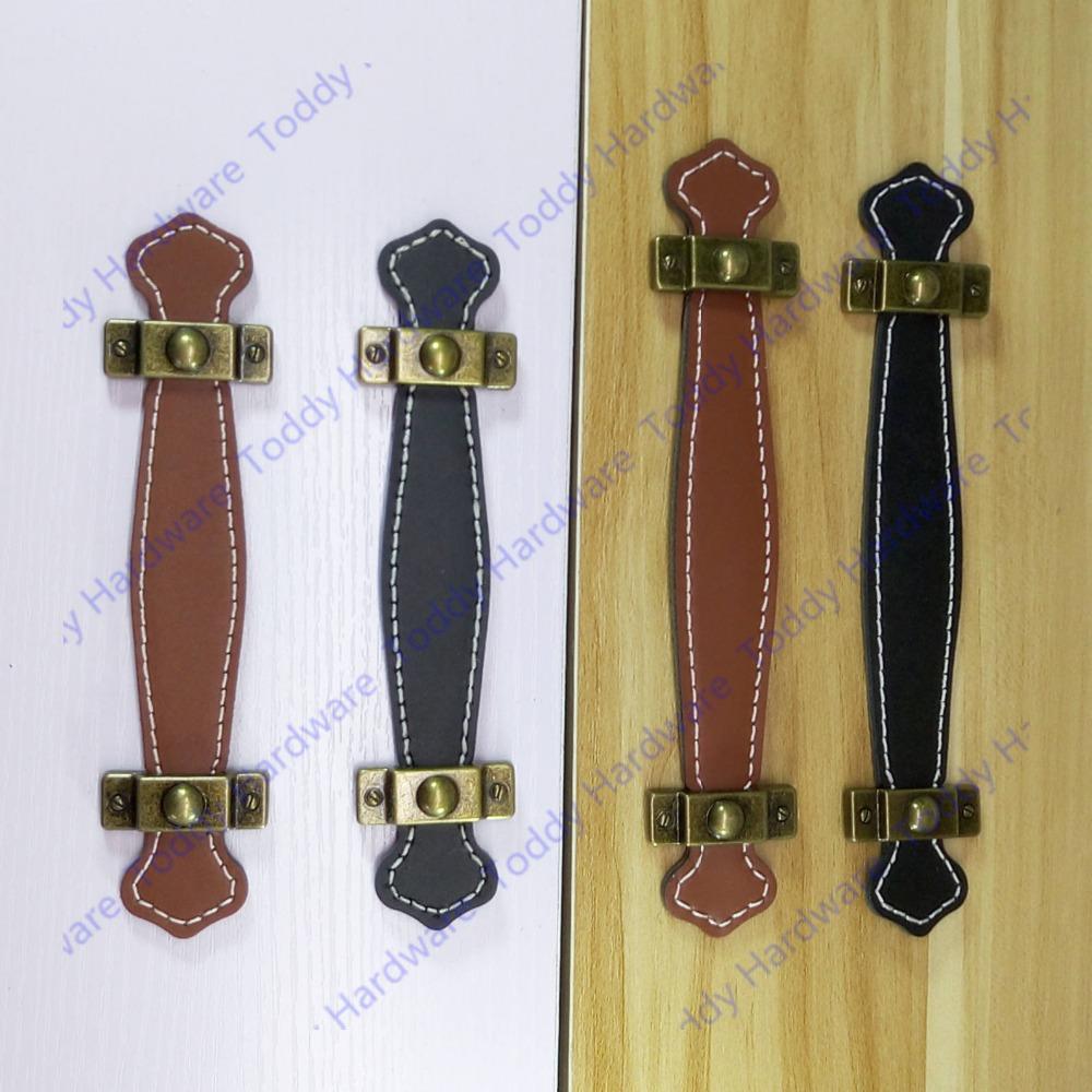 128mm brunnoir en cuir meubles poignéeen cuir de style moderne poignée