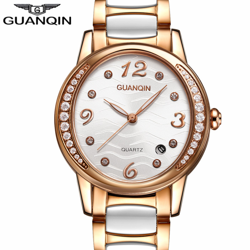 ФОТО montre femme GUANQIN Women Watches Luxury Jewelry Brand Luminous Quartz Watch Ladies Casual Ceramic Wristwatch relogio feminino
