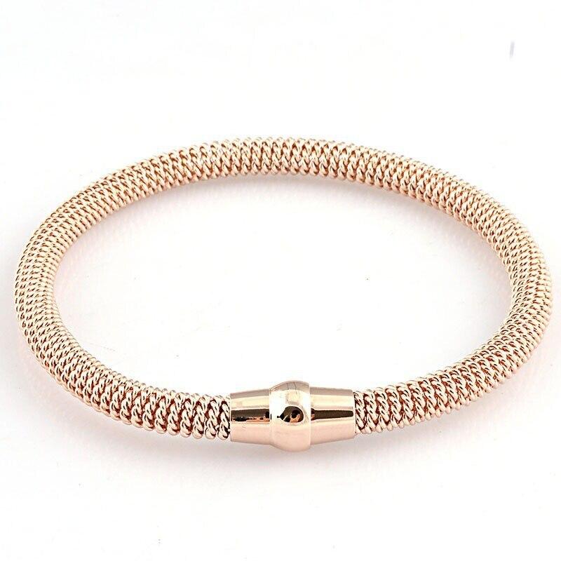 cd9ad2fbfa1cc AOLOSHOW Moda primavera de malha de aço inoxidável da cor do ouro cadeia  pulseira cor de rosa de Ouro pulseira de punho para mulheres ou homens, ...