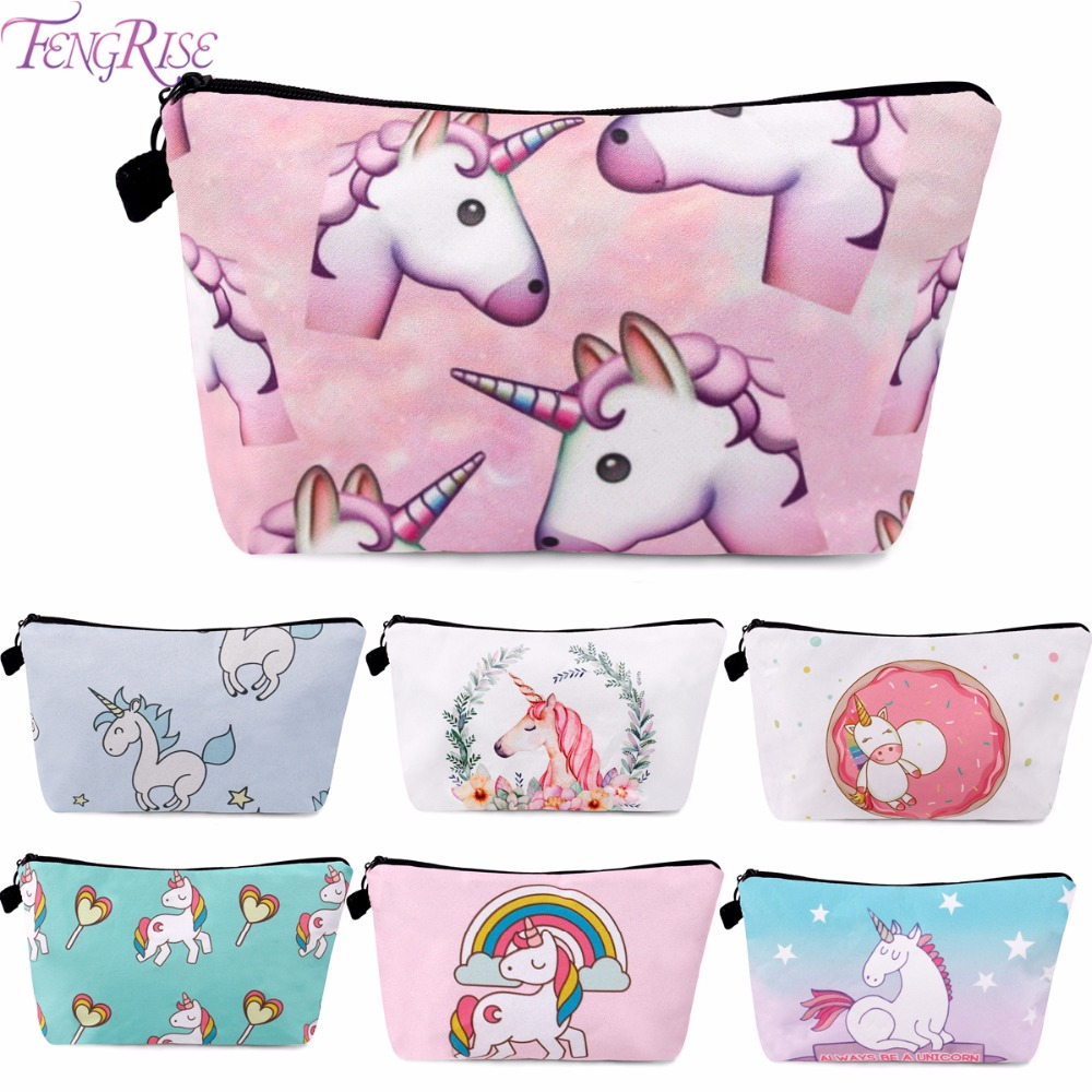 FENGRISE Unicorn Party Bags Girl Happy Birthday Party Decorations Kids Party Favor Cosmetic Bag Wedding Birthday Make Up Bags
