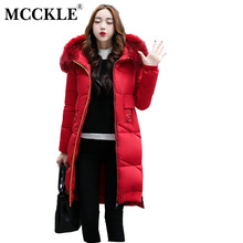 MCCKLE Winter Jacket With Fur Collar Hooded Cotton Padded Mid-Long Puffer Coat Outwear Women Thick Warm Parka Jaqueta Feminina