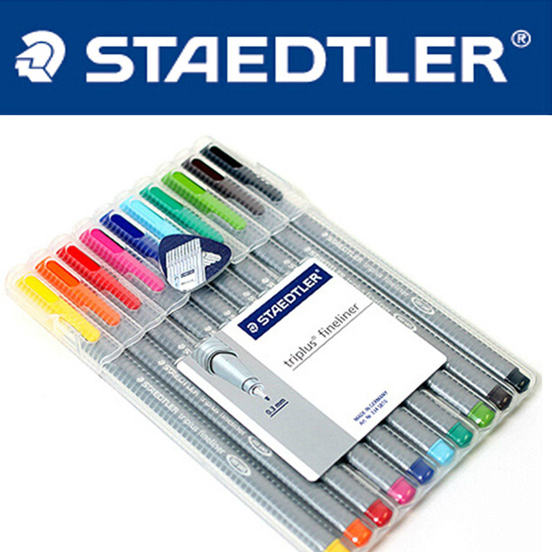 LifeMaster Staedtler 334SB 10 Triplus Fineliner 0.3 mm 10 Colors Set Drawing Pen Graphics Design Writing Supplies