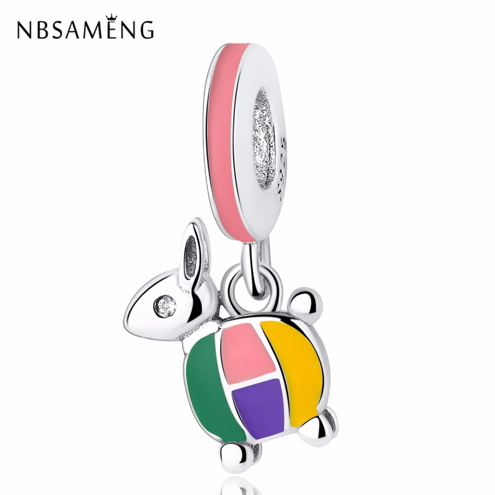 11a1462e1 NBSAMENG 100% 925 Sterling Silver Bead Charm Animal Colorful Donkey Pendant  Beads Clear CZ Fit Pandora Bracelets Jewelly