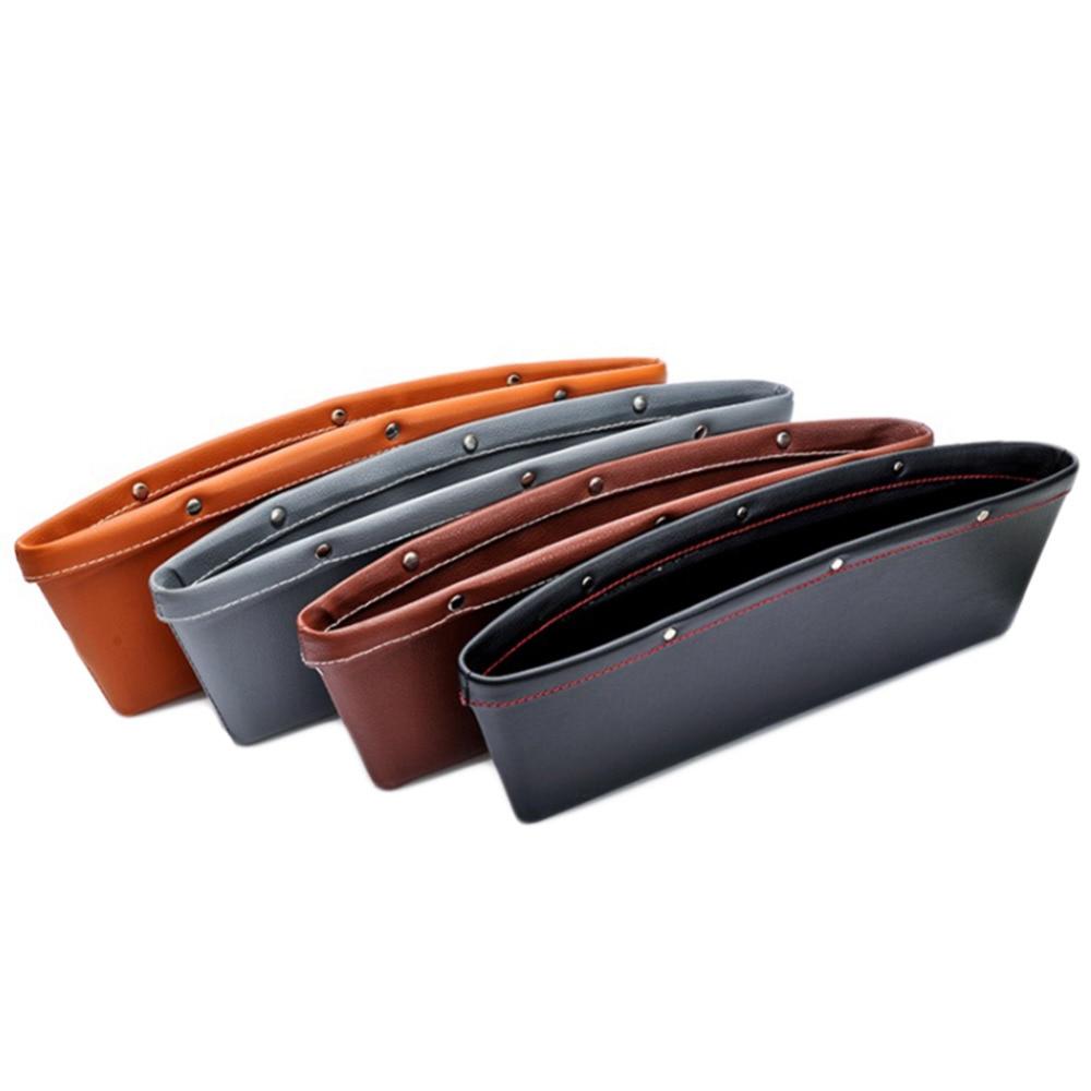 2pcs Creative Car Storage Box Leather Auto Car Seat Gap Pocket Catcher Organizer Leak-Proof Storage Box Auto Bag Container auto back seat organizer bags assorted