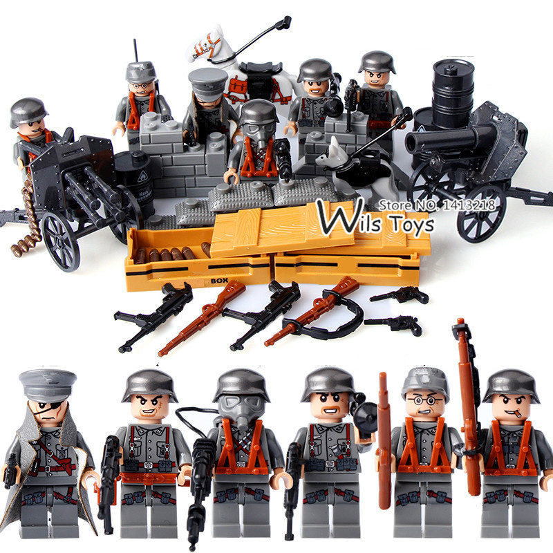 6pcs German Army MILITARY Weapons SWAT Forces Navy Seals Team Soldiers Building Blocks Bricks Figures Gifts Toys Boys Children 6pcs swat military army riot police officer special weapons minifigures building blocks bricks kid baby boy toys