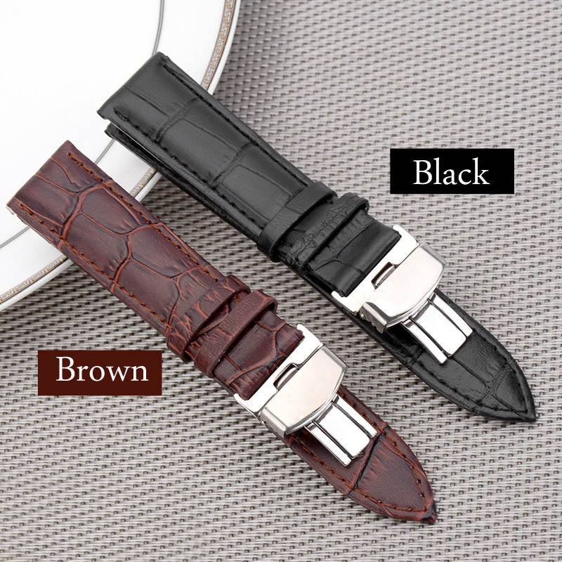 Black Brown business casual leather Watch band strap butterfly buckle crocodile pattern bracelet 18 20 22 24 mm все цены