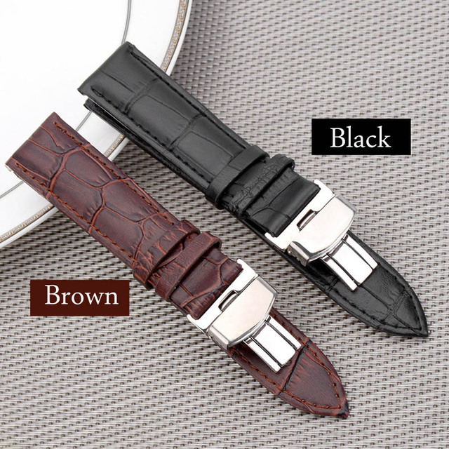 Black Brown business casual leather Watch band strap butterfly buckle crocodile