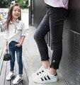 2016 девушки карандаш джинсы узкие джинсы девушки дети осень тонкий все матч упругой узкие брюки длинные брюки сторона с zip