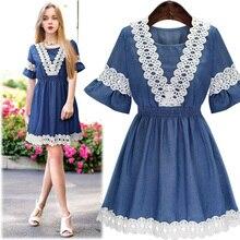 Denim lace stitching round neck short sleeve dress was thin Women's Clothing
