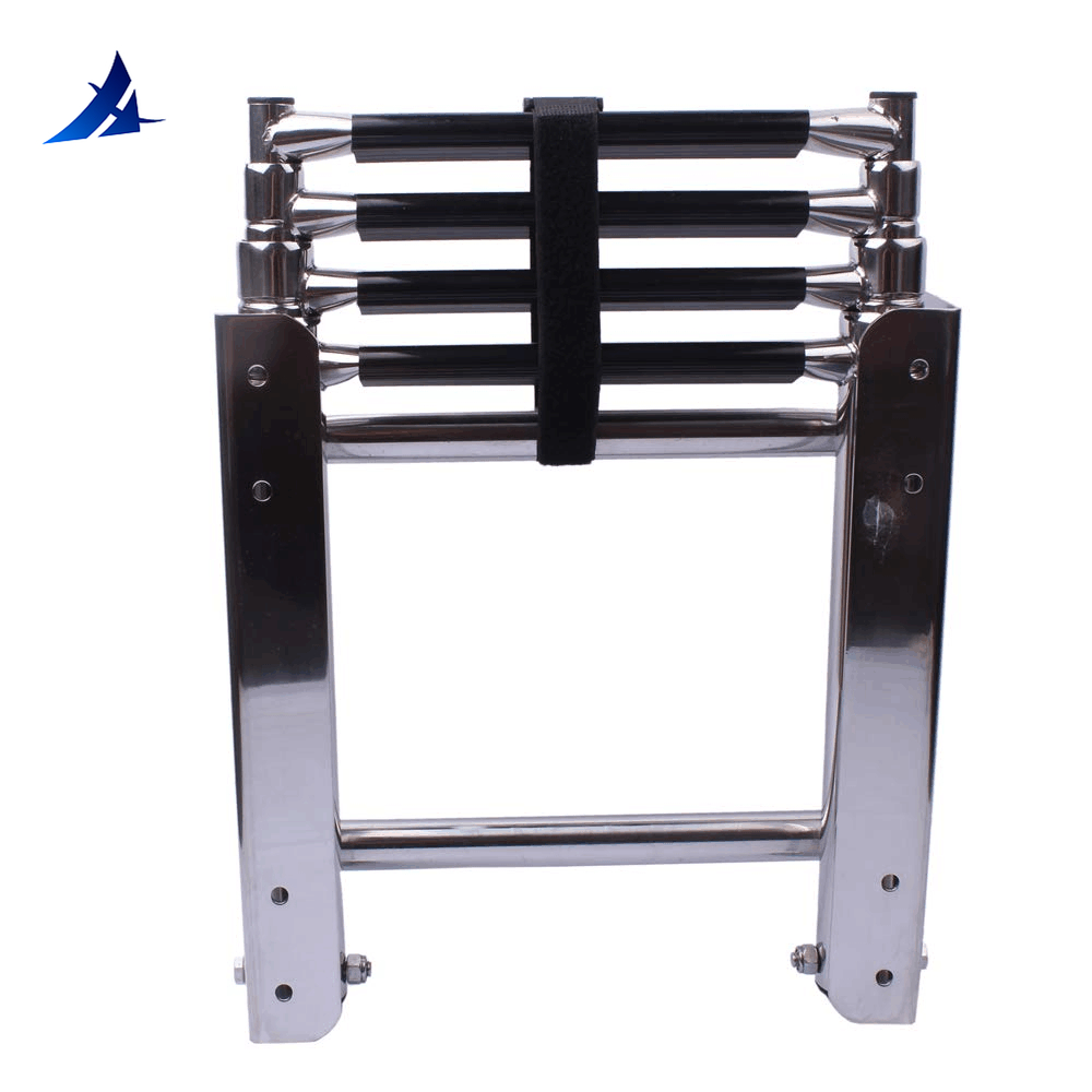 Boat Accessories Marine 4 Step Under Platform Boat Ladder Stainless Steel Boarding Telescoping Ladder