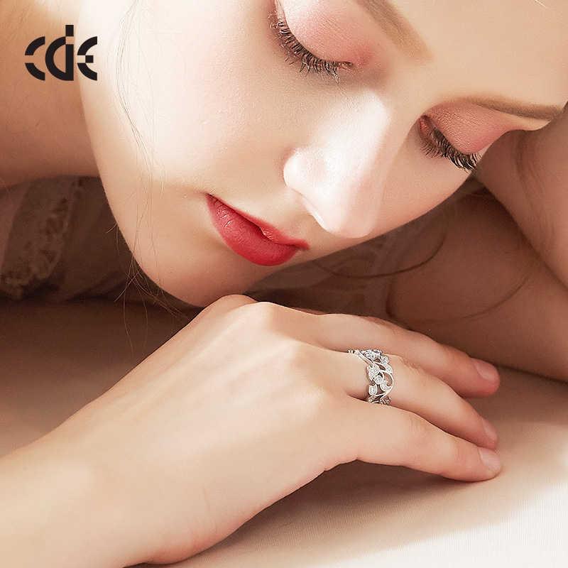 CDE Bạc 925 5mm Vòng Mật Hình Học Nhẫn Đính Đá Cubic Zirconia cho Nữ Cưới Đính Hôn Trang Sức