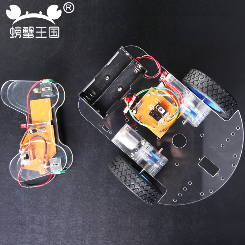 PW M80 DIY Mini Acrylic RC Car with Remote Controller Technology Invention Funny Puzzle Education KD Car Toy wenhsin pw m25 diy mini rc tank with