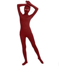 (SWO001) Dark Red Lycra Spandex Full Body Skin Tight Jumpsuit Unisex Zentai Suit Bodysuit Costume Women Unitard Lycra Dancewear