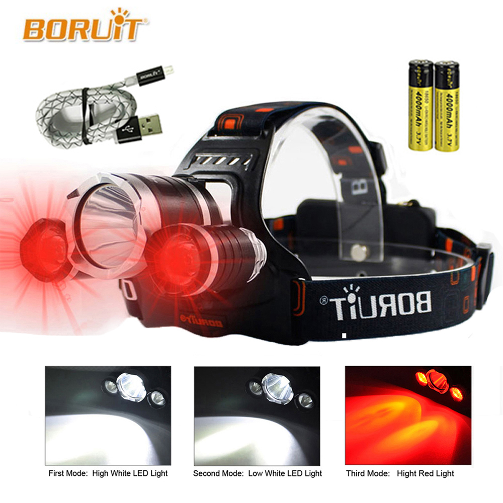 3 LED 3 Modes LED Headlamp Red Light Outdoor Headlight Waterproof Flash Head Lamp Torch Lantern For Hunting, 18650 Battery недорго, оригинальная цена