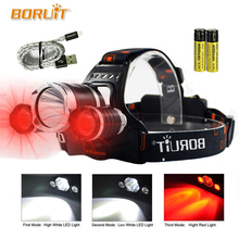 LED Headlamp Red Light Outdoor Headlight 3 LED 3 Modes Waterproof USB Flash Head Lamp Torch Lantern For Hunting  RJ-3000