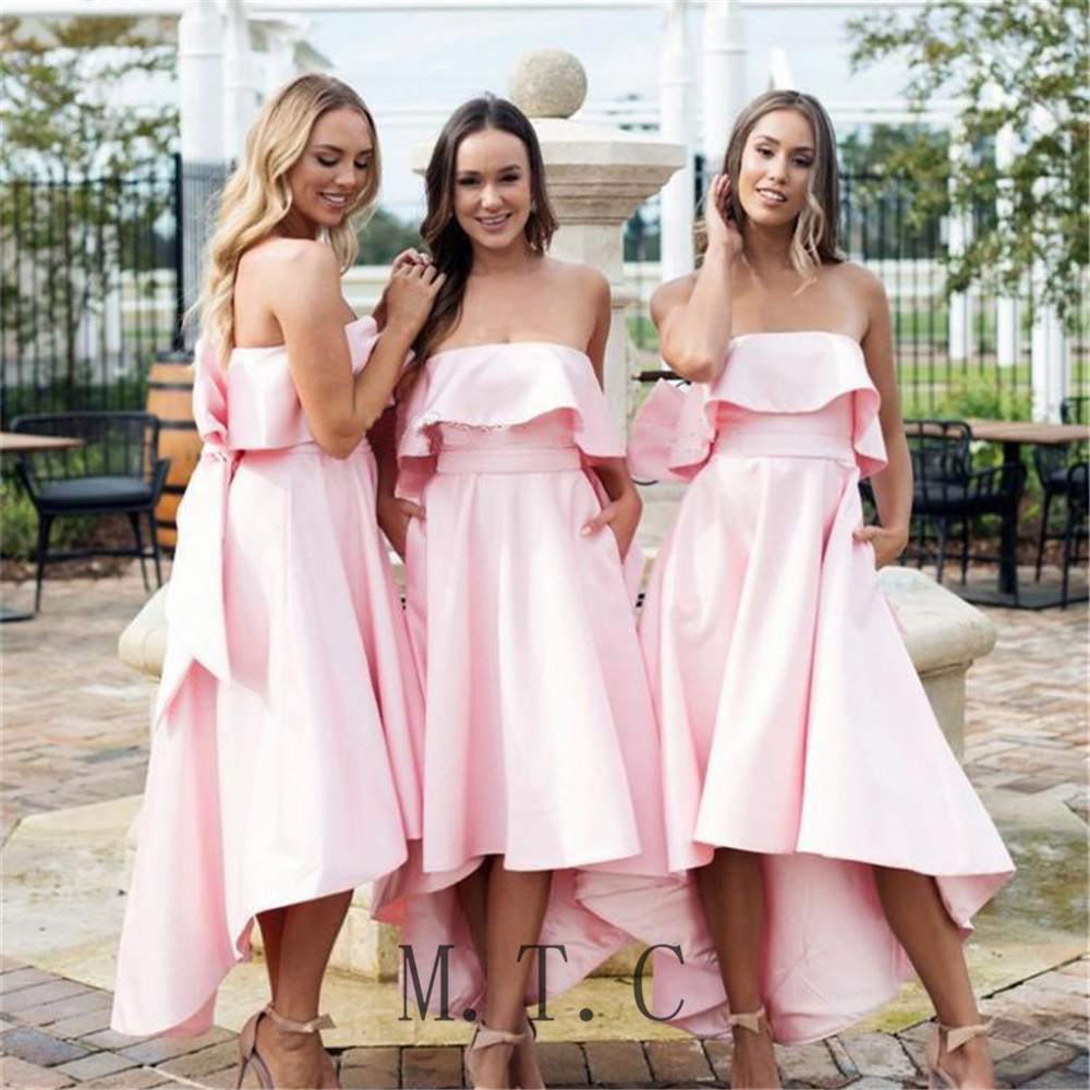 New 2019 Pink High Low   Bridesmaid     Dresses   Strapless Sleeveless Satin Maid Of Honor   Dress   With Big Bow Cheap Wedding Party Gowns
