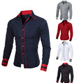 Spring Autumn Feature Shirt 5 Color Men Bussiness Shirt Fashion Personality Long Sleeve Casual Slim Fit Male Shirt Plus Size XXL