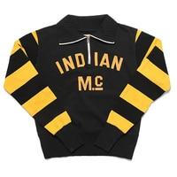 Indian MC Half zip Stripes Sweatshirts For Men Motorcycle Racing Jersey Jacket Top Classic Biker Rider