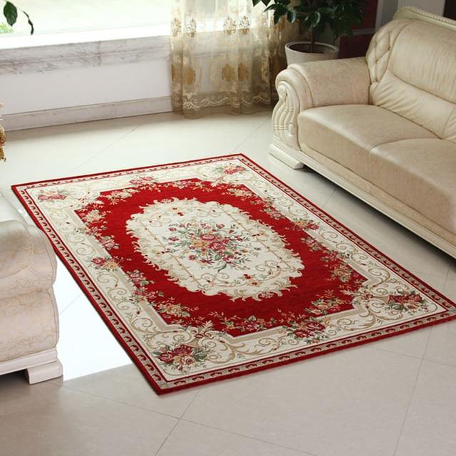 1pcs Keyama European Style Rectangle Jacquard Acrylic Parlor Fl Living Room Decorative Area Rugs Bedroom