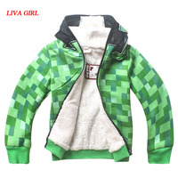 Enfants Garçons Halloween Minecraft Costume Vert Sweat Vêtements D'hiver À Capuche Manteau Pour Enfants 4-12 Ans Gratuit Expédition