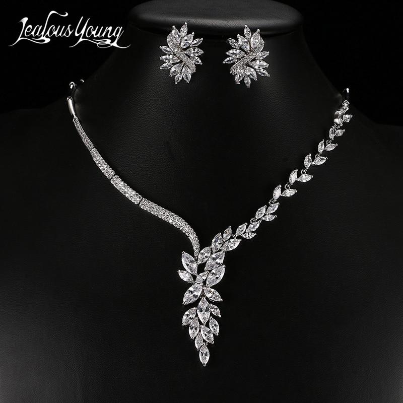 Luxus Kubikzircon Kristall Afrikanische Perlen Schmuck Set für Frauen Exquisite Marquise Ohrringe und Halskette Brautschmuck Sets