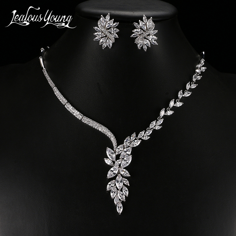 Luxury Cubic Zircon Crystal African Beads Jewelry Set for Women Exquisite Marquise Earrings and Necklace Bridal Jewelry Sets