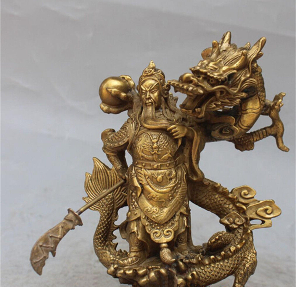 Chinese Fengshui brass Guan Gong Yu Warrior God Sword Stand in Dragon StatueChinese Fengshui brass Guan Gong Yu Warrior God Sword Stand in Dragon Statue