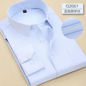 Image 2 - 2019 Повседневная однотонная приталенная мужская деловая рубашка с длинными рукавами, Мужская классическая рубашка, Мужская классическая рубашка, мужская рубашка