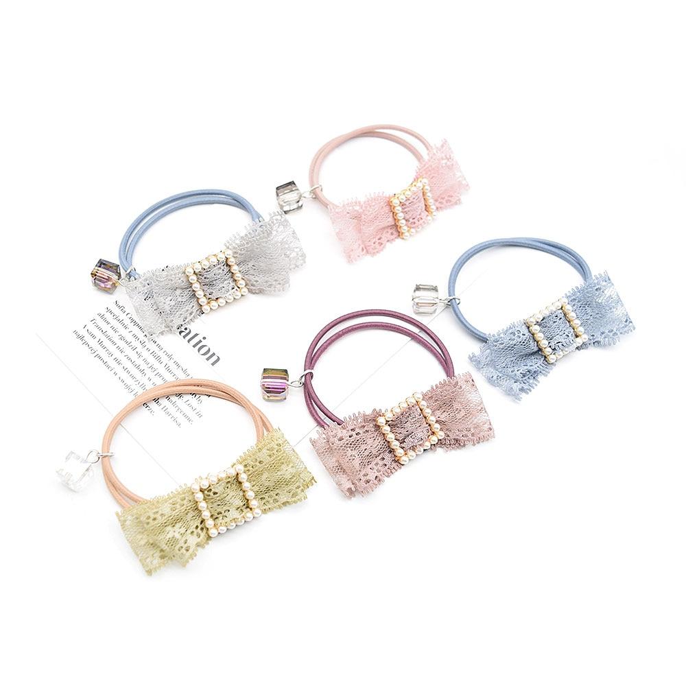 Headdress Hair-Rope Green Pendant Hair-Accessories Elastic Pink Girls Women Korea Lace