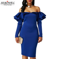 SEBOWEL 2017 Autumn Double Ruffles Women Party Dress Off Shoulder Sexy Bodycon Dress Club Wear Long