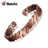 RainSo Moda 7 '' takı bilezik Kadınlar için sağlık manyetik saf bakır bileklik Şifa Antik kırmızı bakır Bilekliği OCB-142