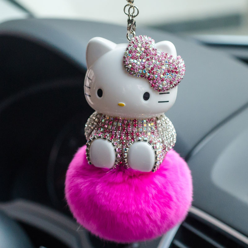 Cute cat hair ball pendant diamond pendant interior of car rearview mirror pendant diamond car accessories car decoration