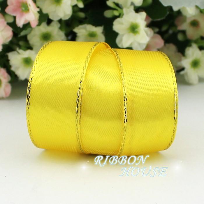 (25 ярдов/рулон) 3/4 »(20 мм) желтый атласные ленты золотой край оптовая продажа высокого качества подарочная упаковка ленты