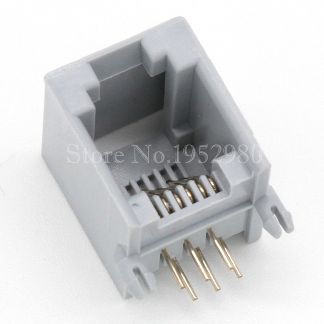 20pcs lot rj45 networt jack ethernet plug 6p6c grey glod 6 pins in