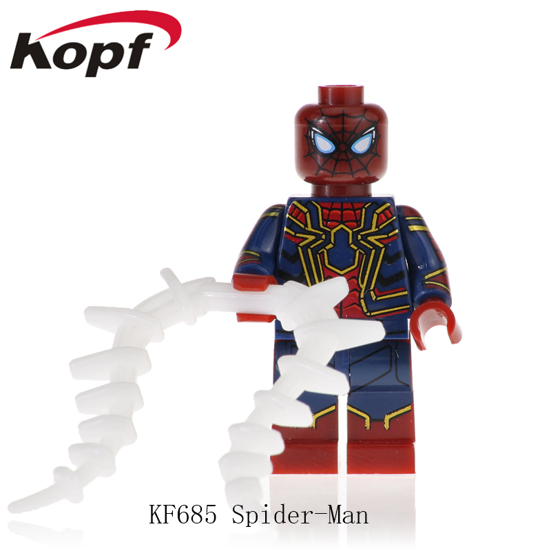 KF685 Super Heroes Spider-man Captain Avengers Anti-Venom Deadpool Captain Thanos American Bricks Figures Dolls Toy For Children image