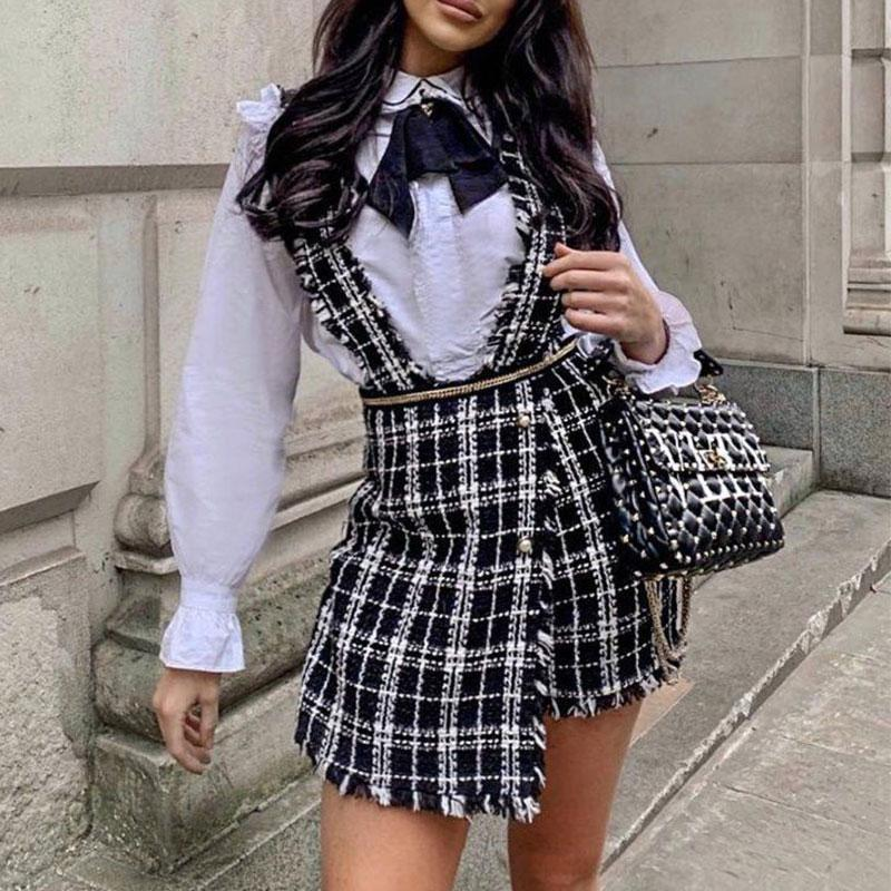 Misswim High waist tweed <font><b>skirt</b></font> Sexy party club <font><b>bib</b></font> <font><b>skirt</b></font> female Fringe A-line mini <font><b>skirt</b></font> 2019 Plaid autumn <font><b>skirt</b></font> Fashion wear image
