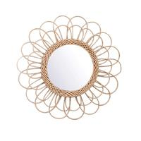 Hanging Mirror Rattan Sunflower Circular Wall Mirror Decor Boho Wicker Dressing Makeup Mirrors BDF99